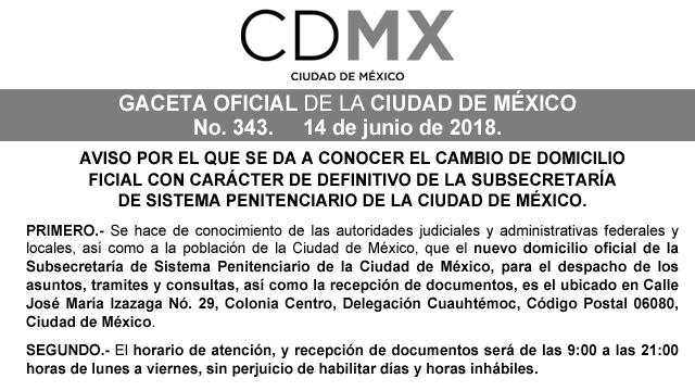 Aviso por el que se da a conocer el cambio de domicilio oficial con carácter de definitivo de la Subsecretaría de Sistema Penitenciario de la  CDMX